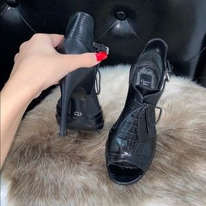 Christian Dior Black Lace Up Crocodile Booties ✨